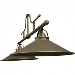 Lampadario vintage country ottone brunito 102cm lampada 2 luci sospeso