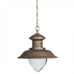 Lampadario in ottone anticato vintage catena una luce 40 cm