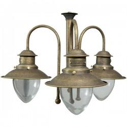 Lampadario vintage country ottone brunito 105cm lampada 3 luci sospeso