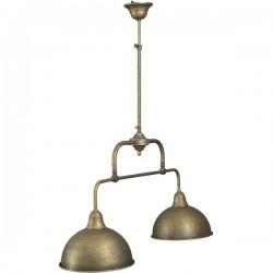 """Lampadario vintage """"Fiordo"""" ottone brunito 90cm lampada 2 luci sospeso"""