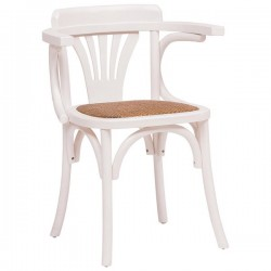 Sedia Thonet con braccioli in frassino color bianco seduta rattan