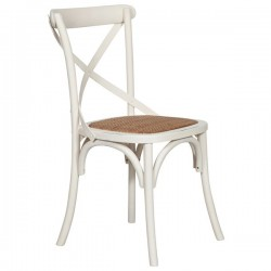 Sedia Thonet in frassino massello color bianco seduta rattan