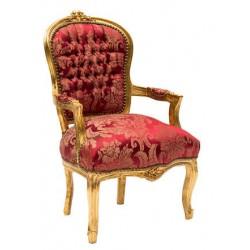 Poltrona barocco Luigi XVI legno sedia tessuto oro rosso braccio