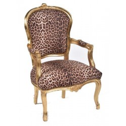 Poltrona barocco Luigi tessuto oro leopardato braccioli