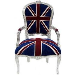 Poltrona divano barocco UK bandiera inglese argento silver