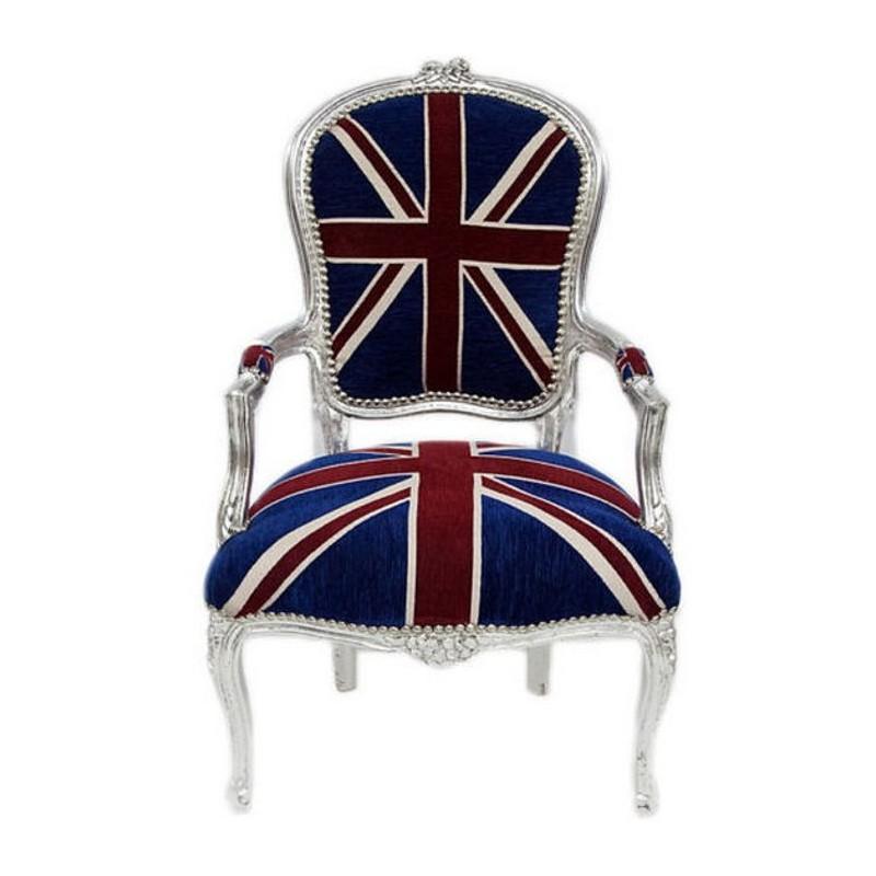 Poltrona divano barocco uk bandiera inglese argento silver for Divano in inglese