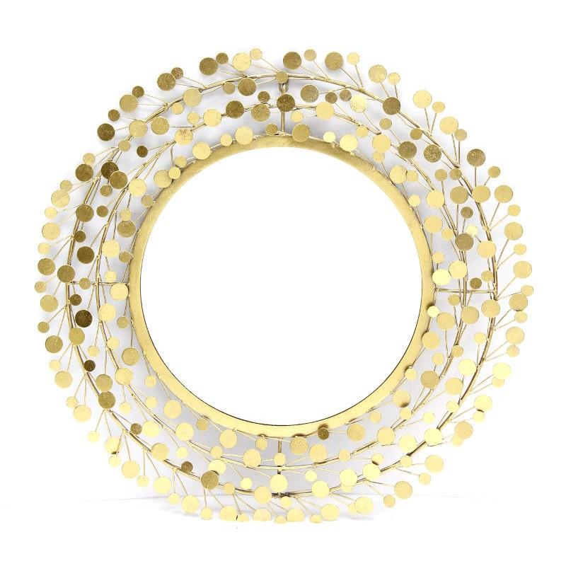 Specchio 78cm glamour stile moderno in metallo dorato