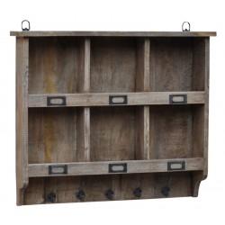 Porta chiavi spezie da muro con ganci e scompartimenti legno