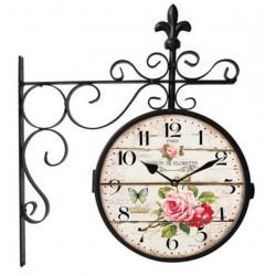 Orologio parete ferro stazione nero shabby chic fiori