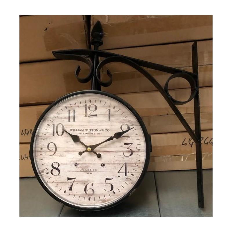 Orologio da stazione parete ferro bifacciale scuro vintage