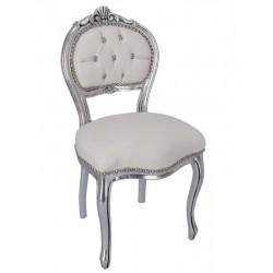 Sedia da musicista argento bianco ecopelle poltroncina in stile barocco