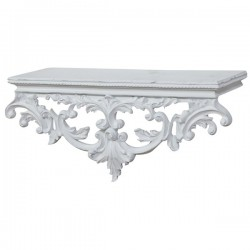 Wall shelf baroque style 46cm vintage rococo white