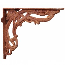 Old-fashioned cast iron shelf bracket 40cm rust