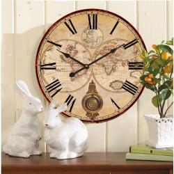 Orologio 58cm da parete a pendolo shabby chic mappamondo vintage