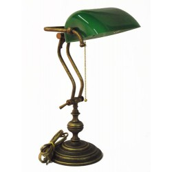 Brass desk lamp 45cm Churchill burnished ministerial green glass table