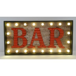 Lighted led Vintage Industrial 'Bar' Sign Glowing in the Dark