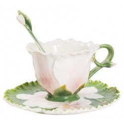 Tea cup coffee with saucer pink flower gentian porcelain