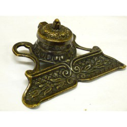 Solid brass inkwell with pen tray Liberty style burnished