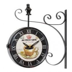 Orologio parete ferro da stazione caffé shabby chic ferrovia muro con staffa