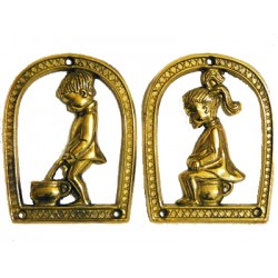 Solid brass toilet sign door with children plaque wall ladies gents