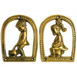Solid brass toilet sign door with children plaque wall ladies gents