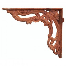 Old-fashioned cast iron shelf bracket 28cm rust