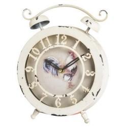 Orologio sveglia ferro gallo bianco shabby chic country