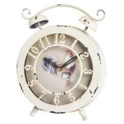 Table clock shabby chic white rooster tabletop
