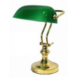 Lampada ministeriale 36cm ottone lucido due steli verde ministero