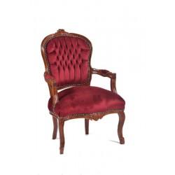Poltrona barocco Luigi XVI sedia legno tessuto bordeaux