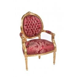 Poltrona barocco Luigi XVI tessuto damascato oro legno braccioli