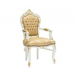 Poltrona barocco sedia bianco oro braccioli legno tessuto