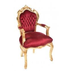 Poltrona barocco steel tessuto oro rosso sedia braccioli