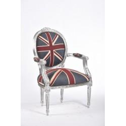 Poltrona barocco tessuto bandiera inglese argento UK braccioli