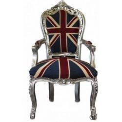 Poltrona divano barocco bandiera inglese UK argento silver
