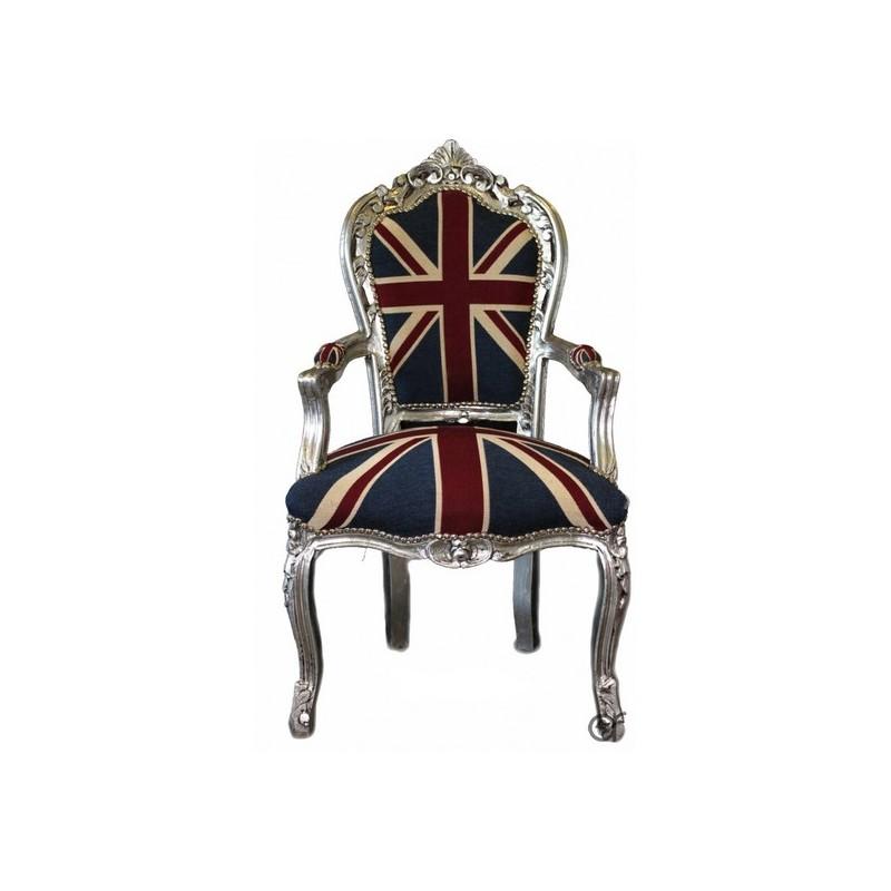Poltrona divano barocco bandiera inglese uk argento silver for Divano in inglese