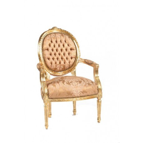 Poltrona Luigi XVI tessuto oro foglie damascato dorato barocco ...