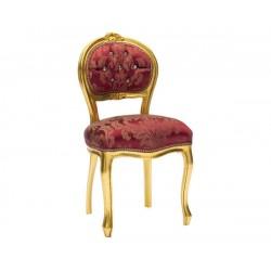 Poltrona sedia barocco oro tessuto rosso in legno gemme