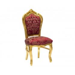 Poltrona sedia in legno barocco Luigi XVI tessuto oro rosso