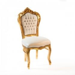 Sedia barocco Luigi XVI poltrona legno oro pelle bianca