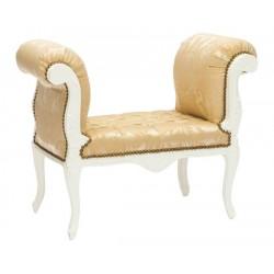 Divano legno divanetto poltrona barocco oro bianco pelle
