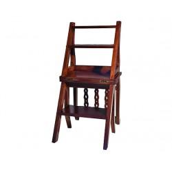 Scala scaletta libreria legno noce vintage mobile sedia biblioteca