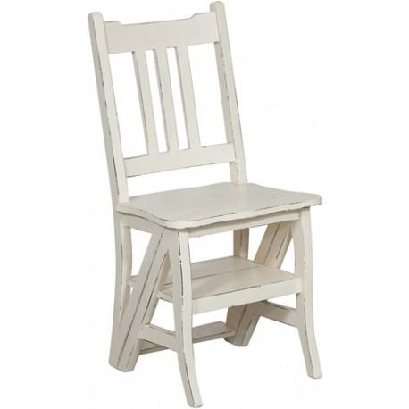 Sedia a scala scaletta legno bianco per libreria biblioteca