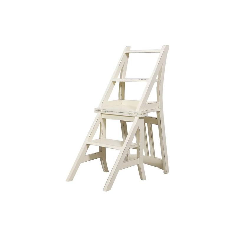 Sedia a scala scaletta legno bianco per libreria biblioteca for Scala per libreria