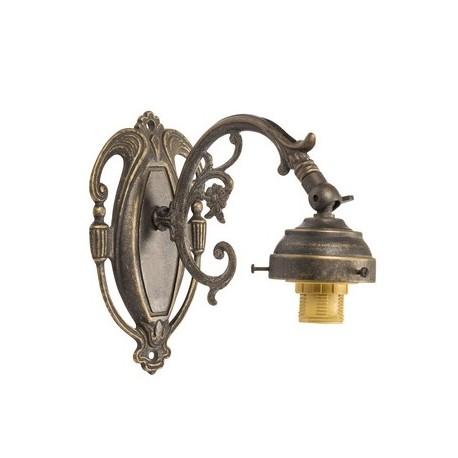 Applique impero lampada da parete a muro ottone brunito