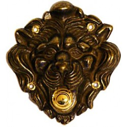 Polished brass door bell lion's head italian push contact button