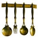 Set 4 mestoli ottone legno attrezzi cucina arredamento cucina vintage