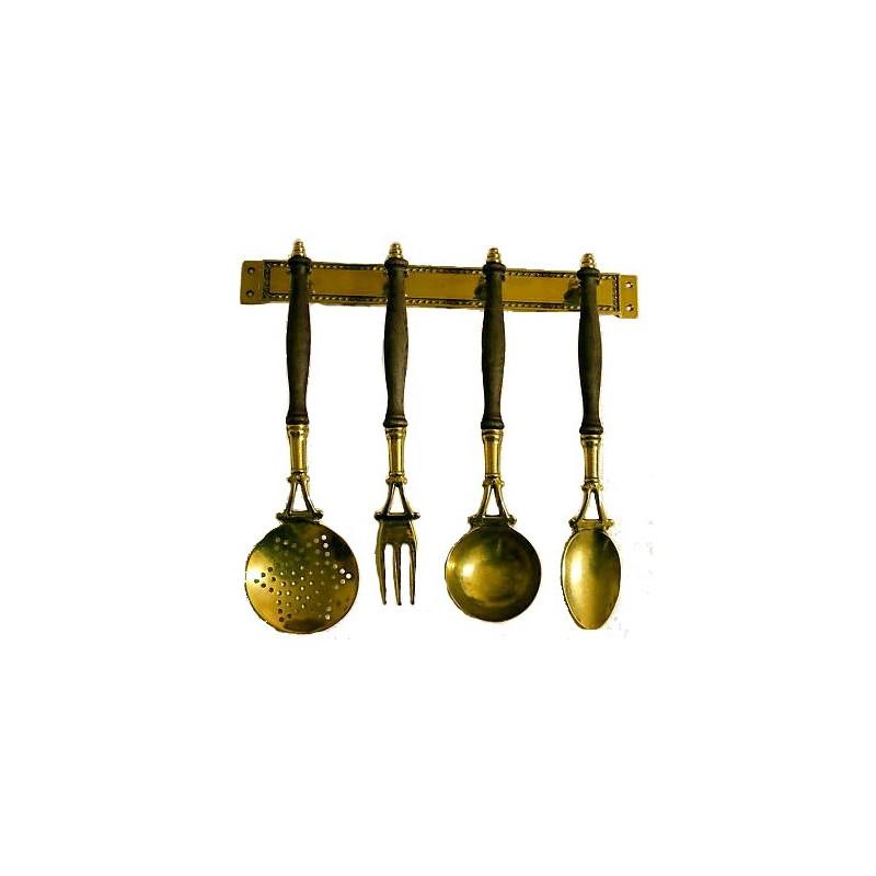 Set 4 mestoli ottone legno attrezzi cucina arredamento for Set mestoli cucina