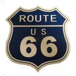 Targa in latta pannello insegna route 66 arredo pub birreria blu