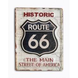 Pannello targa insegna placca latta metallo Historic Route 66